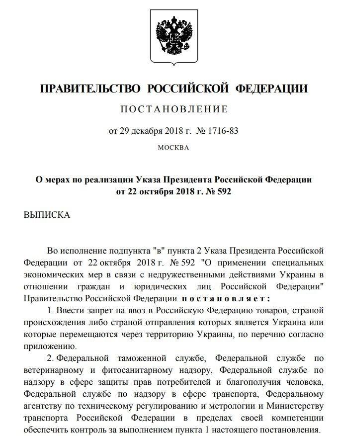 Украинские товары, запрещенные к ввозу на территорию РФ