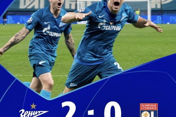 Лига чемпионов: «Зенит» обыграл «Лион» и вышел на 2 место в группе G